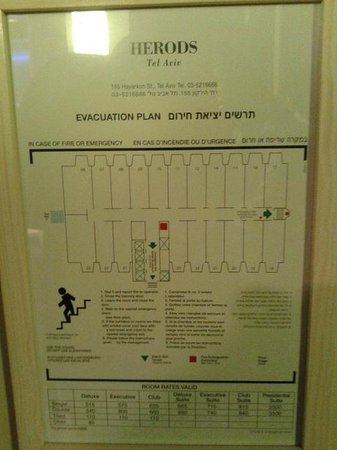 Herods Tel Aviv: Map of hotel Rooms