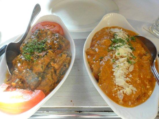 Taj Mahal: Das Palak Gosht (mit Spinat,tomatig) & Beef Korma