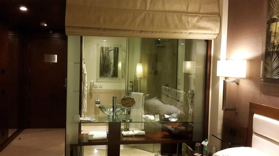Lemon Tree Premier, Leisure Valley 2: Bathroom with glass wall and curtain