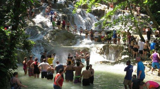 Dunn's River Falls and Park: A Large Group Climbing Dunn's River Falls