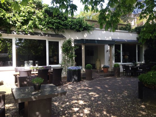 Bocholt, Germany: Lovely terrace under a chestnut tree.
