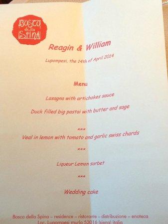 Bosco della Spina: Meal menu @ wedding