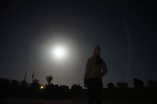 Captain's Desert Camp : Backdrop against Full Moon