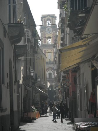 View of Bell Tower from shops in Piazza Tasso.