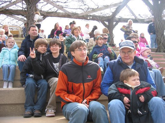 Purina Farms: Our boys watching the puppet show!  It was a cold Easter.