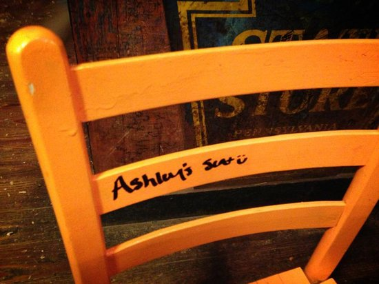 River City Cafe: They let us write our names on the chairs