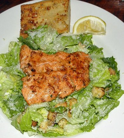 The Timberhouse Restaurant: Caesar Salad with your choice of salmon, oysters, grilled chicken or calamari
