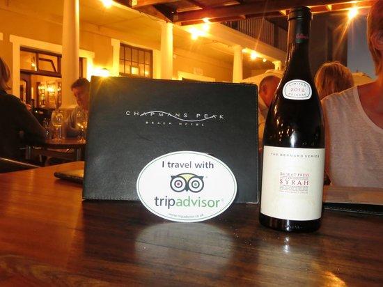 Chapmans Peak Hotel Restaurant: Showing my TA award!!