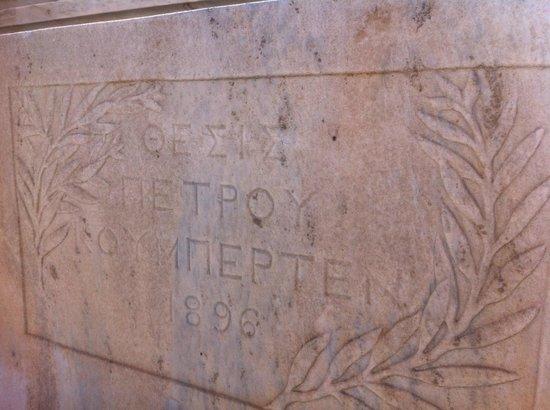 Panathenaic Stadium: Pierre de Coubertain seat