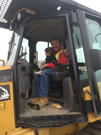 Extreme Sandbox: Grandaughter checking out the dozer