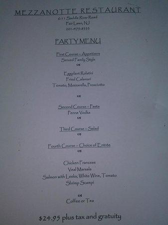 Mezza Notte: party menu