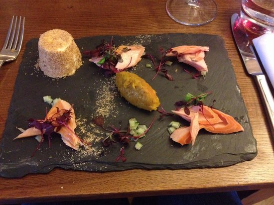 The Three Salmons: Smoked salmon with panna cotta and picled onions. Unusual but spectacular!