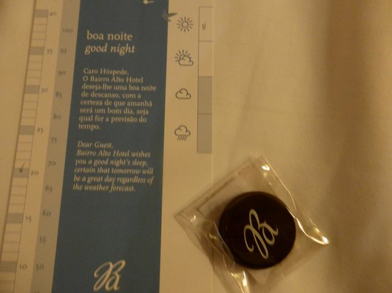 Bairro Alto Hotel: Even the chocolates and cards left by the maids after the turn down each night is monogrammed!