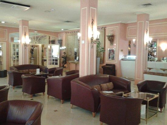 Hotel Arosa : библиотека, телевизионная комната и интернет-уголок. с принтером около зала для завтрака и бара