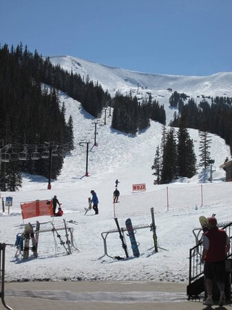 Loveland Ski Area: End of the day as the last skiers get one more run in before the lifts close