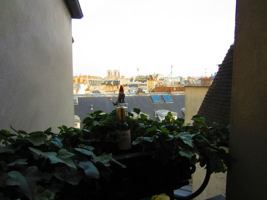 Left Bank - St Germain Des Pres B&B: Traveling Gnome enjoys the view from the room