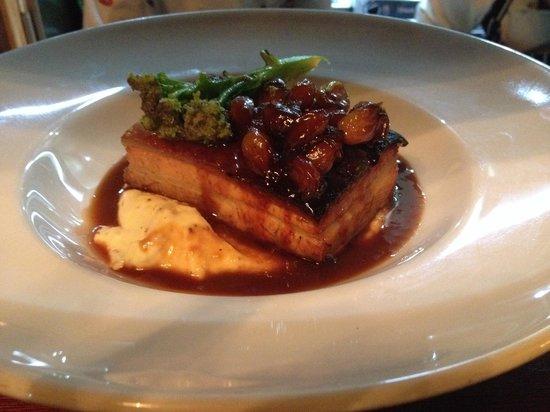 The Latin Quarter Bistro: Pork belly on whole grain mustard mash