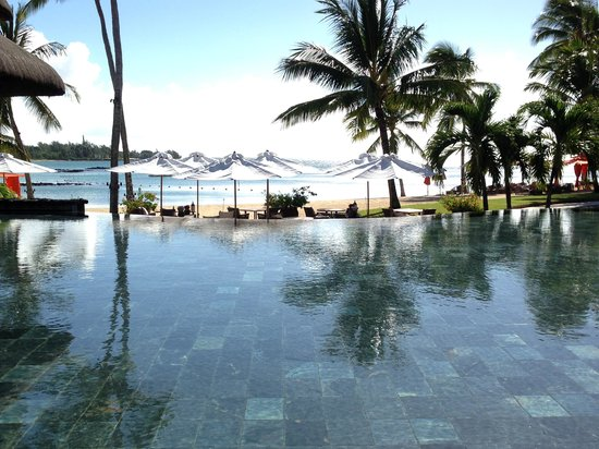 Constance Prince Maurice: View from reception across the pool/beach