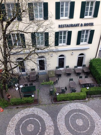Hotel St. Josef: View of the hotel restaurant from a third floor room.