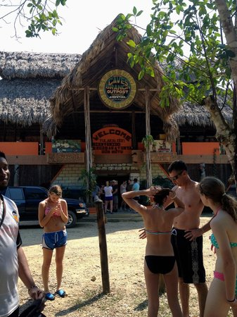 Cave Tubing with Vitalino Reyes: when we first got to the caves getting helmet and life jacket
