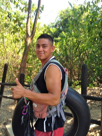 Cave Tubing with Vitalino Reyes: Jonathan one of our guides in the jungle
