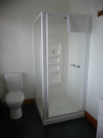 Hi George: Spacious beautifully clean bathroom