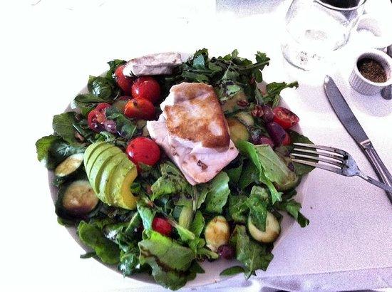 Hardy Park Bistro: Mahi salad with olives, grape tomatoes zuccinni salad