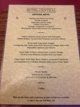 The Hotel Central: Ancient Menu