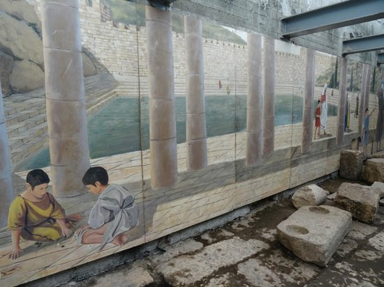 Hezekiah's Tunnel - Siloam Tunnel: Mural of the Pool of Siloam in the 1st century