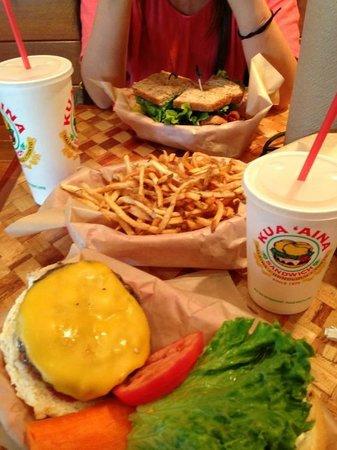 Kua Aina Sandwich: Cheeseburger, fries and BLT