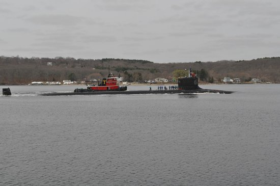 The Submarine Force Museum: The USS New Mexico going by. This was a treat to see.