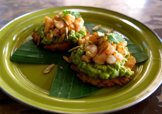 The Drunken Sailor: Green Plantain Tostadas with Guacamole, Grilled Shrimp, and Roasted Pumpkin Seeds
