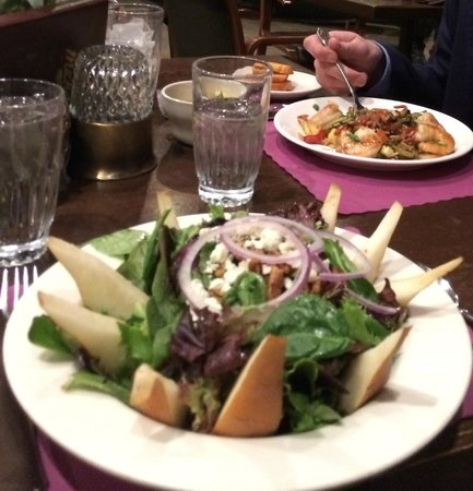 Michael's: Pear salad & shrimp stir fry