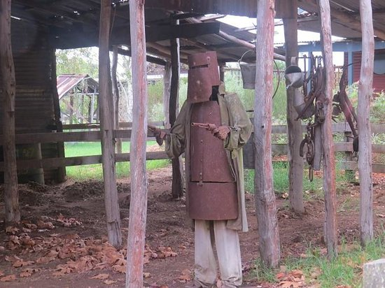 South Coast WoodWorks Gallery : Ned Kelly, Bushranger sculpture at the car park of South Coast Wood Works