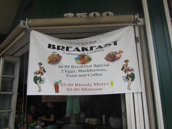 Cheeseburger In Paradise : Sign for Breakfast