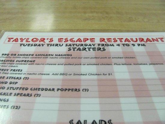 Taylor's Escape: Menu
