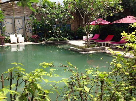 The Frangipani Living Arts Hotel & Spa: Main pool, it's salt water which explains the colour!
