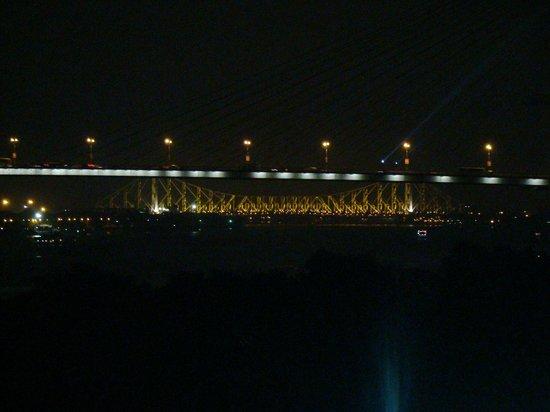 Howrah Bridge: Illuminated as seen from below the Setu -from my bedroom!