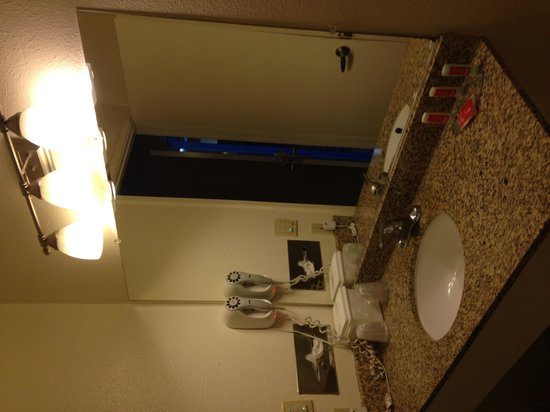 Econo Lodge Bay Breeze : Wash basin and hairdryer