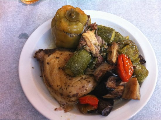 Boukia Boukia: Vegetables, stuffed pepper, chicken, and I think some rabbit too.  It was OK.