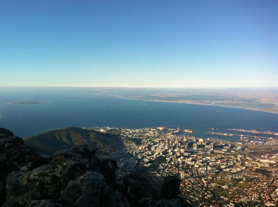 Table Mountain Aerial Cableway: At The Top - View over Robben Island