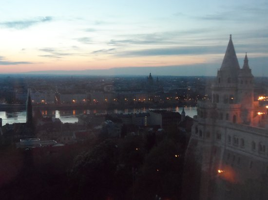 Hilton Budapest: view from hotel room of Fishermans Bastion and Parliment on river