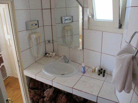 Fanari Villas: Bathroom needs updating (note home brand liquid soap)