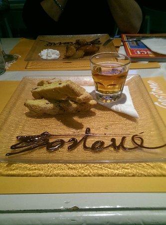 Great dessert with chocolat signature. Tarte tatin and cantucinni