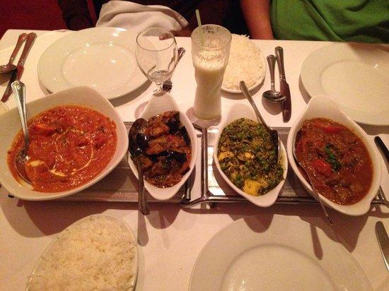 Raja Restaurant : from left to right: Peshwari Chicken, Aubergine Bhaji, Saag Paneer, Madras Lamb