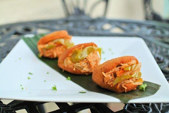 Bocadillos - Tapas Kitchen & Bar: Venezuelan Arepas - Handmade with Yellow Cornmeal & Stuffed with Shredded Chicken