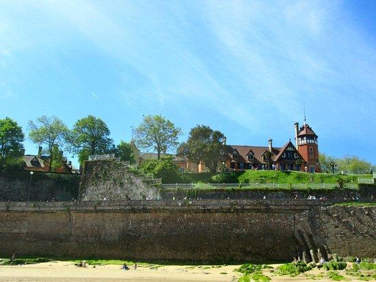 Looking up at Miramar Palace from La Concha beach.