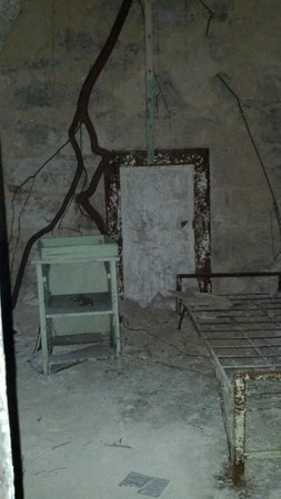 Eastern State Penitentiary: Cell looking untouched w/ a tree root growing into it.  Area in back is the original entrance.
