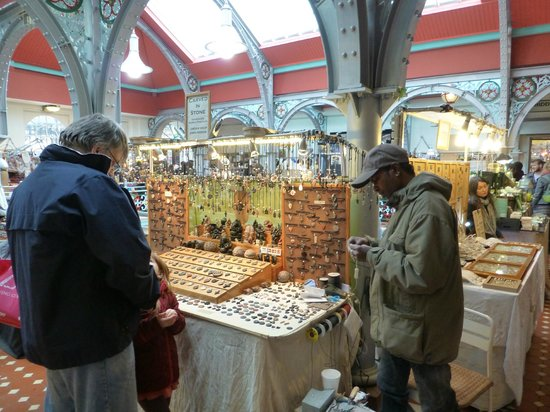 Camden Market: Camden Lock Market - 2nd Floor - this is the carved stone necklace vendor
