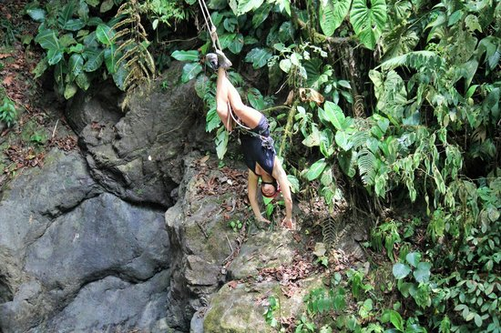 Manuel Antonio, Costa Rica: My wife showing off on the Tarzan swing